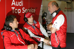 Dr. Wolfgang Ullrich, head of Audi Sport with Oliver Jarvis and Loic Duval, Audi Sport Team Joest