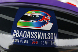 A decal honoring Justin Wilson