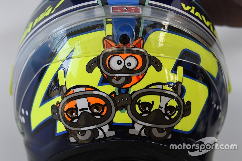 El diseño especial del casco de Valentino Rossi, de Yamaha Factory Racing