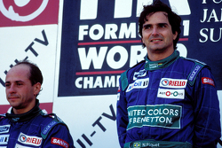 Podium: race winner Nelson Piquet, Benetton, second place Roberto Moreno, Benetton