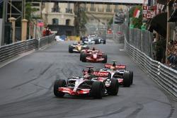 Fernando Alonso, McLaren Mercedes, MP4-22 leads Lewis Hamilton, McLaren Mercedes, MP4-22