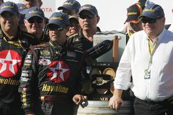 Victory lane: race winner Juan Pablo Montoya celebrates