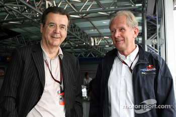 Hans Mahr, Manager of Ralf Schumacher, Former RTL Editor in Chief and stv and Helmut Marko, Red Bull Racing, Red Bull Advisor