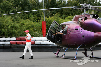 Lewis Hamilton arrives in a helicopter, McLaren Mercedes with young British Katers, Daytona Kart Centre, Milton Keynes