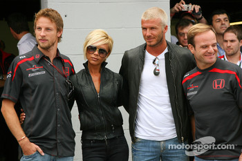 Jenson Button, Honda Racing F1 Team, Rubens Barrichello, Honda Racing F1 Team with David Beckham and Victoria Beckham
