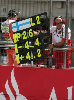 Kimi Raikkonen, Scuderia Ferrari, pit board