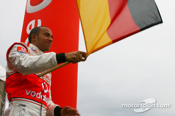 Lewis Hamilton, McLaren Mercedes, Waves the German national flag, Vodafone Karting Event