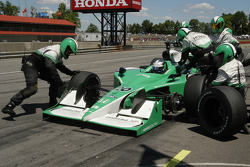 During the pit stop for Ed Carpenter the car was lowered before the left front tire was on