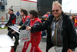 Father of Mattias Ekström, Audi Sport Team Abt Sportsline, Audi A4 DTM, helps pushing the car of his son Mattias Ekström, Audi Sport Team Abt Sportsline, on to the grid