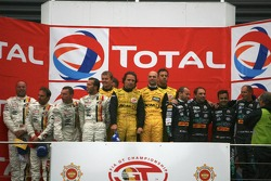 GT1 podium: class and overall winners Jean-Denis Deletraz, Mike Hezemans, Fabrizio Gollin and Marcel Fassler, second place Eric van de Poele, Michael Bartels, Thomas Biagi and Pedro Lamy, and third place Anthony Kumpen, Bert Longin, Kurt Mollekens and FrÃ