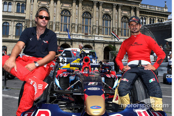 City of Budapest demo: Gerhard Berger, Scuderia Toro Rosso, Team co-owner, Vitantonio Liuzzi, Scuderia Toro Rosso