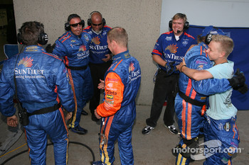Jan Magnussen celebrates win with SunTrust Racing team members