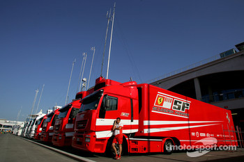 Scuderia Ferrari trucks in the paddock