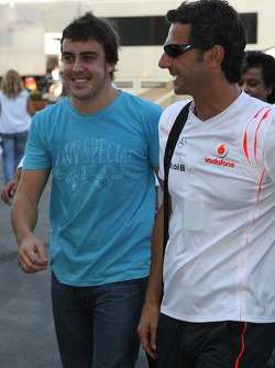 Fernando Alonso, McLaren Mercedes leaves the circuit with Pedro de la Rosa, Test Driver, McLaren Mercedes