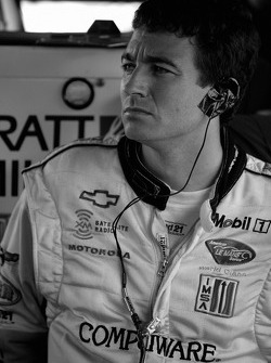 Oliver Gavin watches the qualifying session
