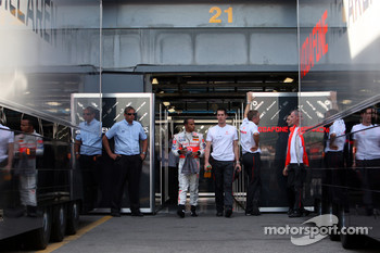 Lewis Hamilton, McLaren Mercedes walks out of the garage