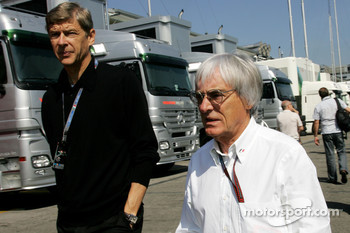 Bernie Ecclestone and Arsene Wenger, Manager of Arsenal football club
