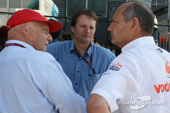 Niki Lauda, Former F1 world champion and RTL TV, Ron Dennis, McLaren, Team Principal, Chairman and a German Journalist