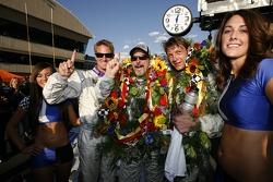 Race winners Ryan Hunter-Reay, Jim Matthews and Marc Goossens celebrate