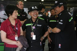Kamasaki team members celebrate podium finish