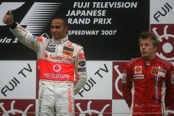 Podium: race winner Lewis Hamilton and Kimi Raikkonen