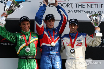 Podium, Adrian Zaugg, driver of A1 Team South Africa, Oliver Jarvis, driver of A1 Team Great Britain, Neel Jani, driver of A1 Team Switzerland