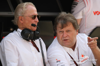 left, Prof. Jurgen Hubbert, Board of Management DaimlerChrysler and right, Norbert Haug, Mercedes, Motorsport chief