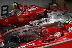3rd place Felipe Massa, Scuderia Ferrari with 2nd place Fernando Alonso, McLaren Mercedes and 1st place Kimi Raikkonen, Scuderia Ferrari