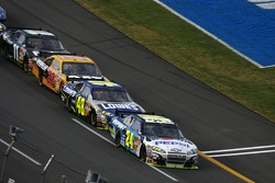 Last lap: Jeff Gordon leads Jimmie Johnson to the checkered flag