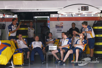 Renault F1 Team mechanics watch World Cup Rugby Finale