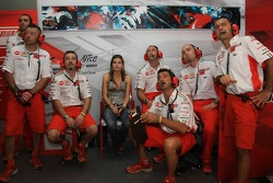 Ducati Marlboro Team mechanic with Adrianna, Casey Stoner's wife