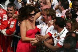 Slavica Ecclestone, Wife to Bernie Ecclestone and Naomi Campbell, Supermodel celebrates with the Ferrari team