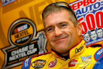 Bobby Labonte speaks with the media
