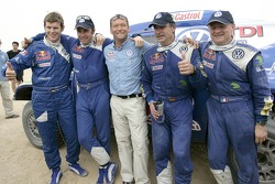 Dirk von Zitzewitz, Giniel de Villiers, Volkswagen Motorsport Director Kris Nissen, Carlos Sainz  and Michel Périn celebrate FIA Cross-Country Rally World Cup 2007