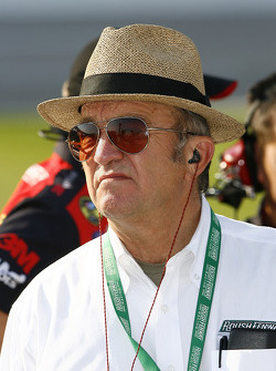 Team owner Jack Roush checks over his cars