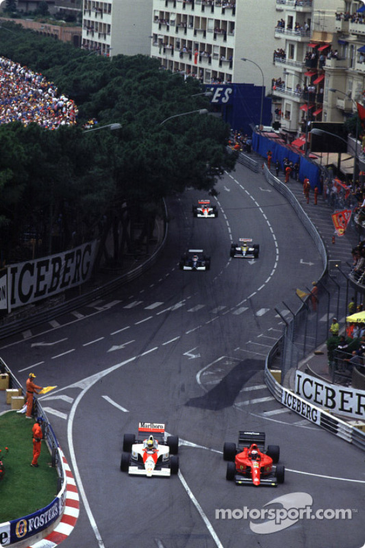 Pace lap: Ayrton Senna and Alain Prost