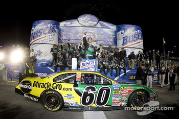 Championship victory lane: 2007 NASCAR Busch Series champion Carl Edwards celebrates