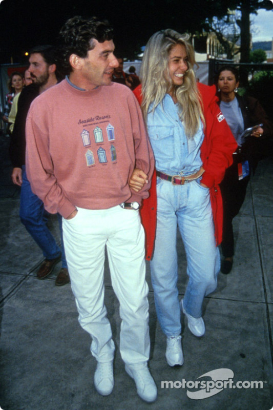 Ayrton Senna with his girlfriend Adriane Galisteu