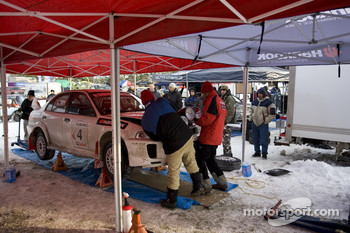Frank and Dan Sprongl installs the lights for the night stages