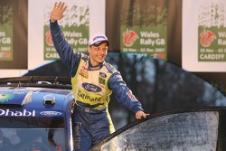 Podium: winner Mikko Hirvonen celebrates