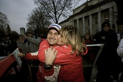 2007 World Rally Champion Daniel Elena celebrates
