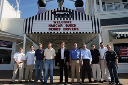 From left to right: Bobby Hamilton Jr., Greg Biffle, David Ragan, David Reutimann Carl Edwards, Marcos Ambrose, Matt Kenseth, Stephen Leicht, Scott Wimmer and Jason Leffler met the media at the ESPN Club at Walt Disney World. All of the drivers, except Wi