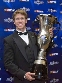 Carl Edwards with his first place trophy