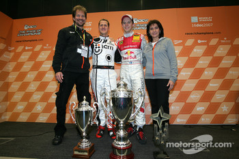 Fredrik Johnsson, Michael Schumacher, Race of Champions winner Mattias Ekström and Michelle Mouton