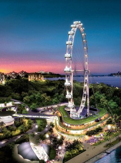 The Singapore flyer overlooking the Grand Prix circuit