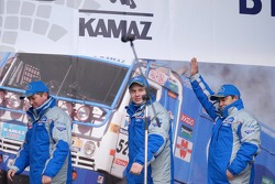 Kamaz-Master ceremonial start on the Red Square in Moscow: Sergey Savostin, Eduard Nikolaev and Elgizar Mardeev