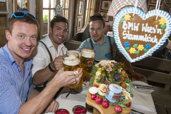 Felix Loch, Tobias Wendl and Tobias Arlt attend the BMW Wiesn Sport-Stammtisch 2015 at Oktoberfest