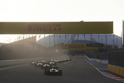 The GP2 field head to turn 2