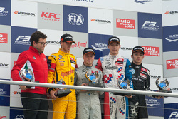 Championship Podium: second place Antonio Giovinazzi, Jagonya Ayam with Carlin Dallara Volkswagen 2015 champion Felix Rosenqvist, Prema Powerteam Dallara Mercedes-Benz and third place Jake Dennis, Prema Powerteam Dallara Mercedes-Benz and 2015 rookie champion Charles Leclerc, Van Amersfoort Racing Dallara Volkswagen