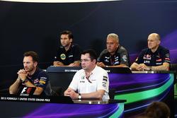 FIA新闻发布会:马修·卡特,路特斯车队CEO;维杰·马尔雅,印度力量车队老板;弗朗兹·托斯特,红牛二队领队;克里斯蒂安·霍纳,红牛车队经理;埃里克·布利尔,迈凯伦车队总监